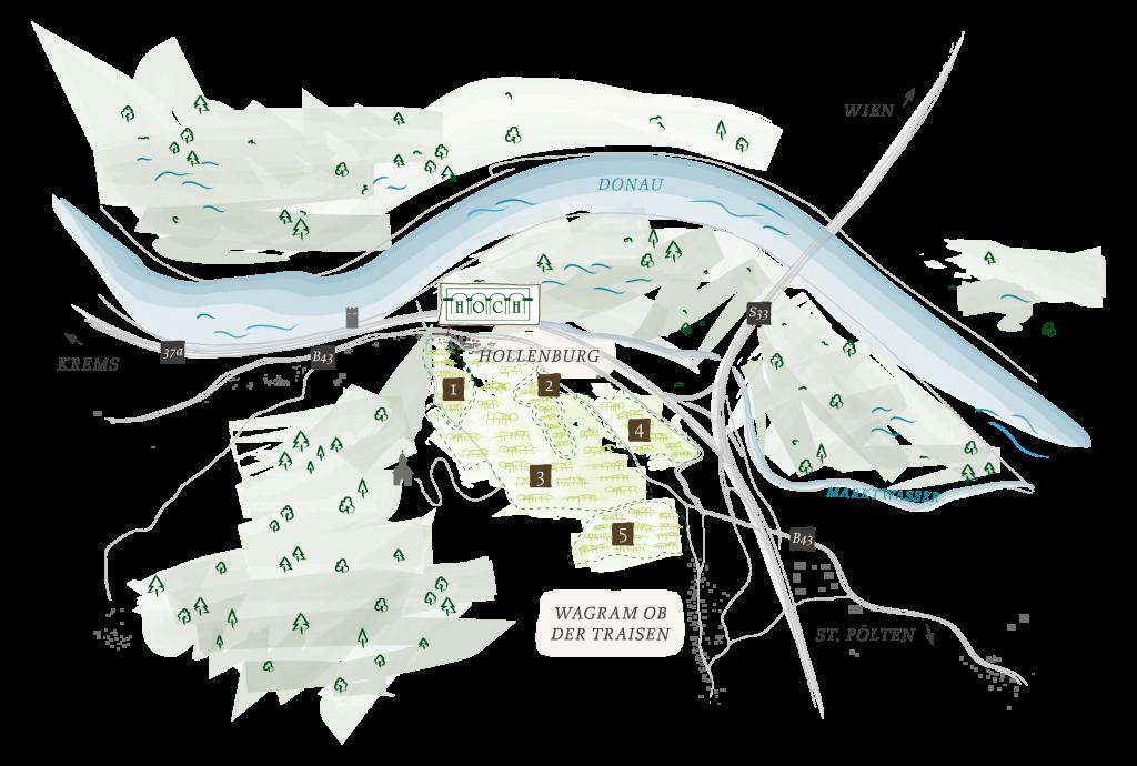 Karte der Umgebung vom Weinhof Hoch und Anfahrtsplan